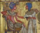 Faraone seduto sul suo trono con uno scettro nejej, in forma di una frusta, in mano