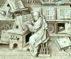 Copista monaci che lavorano con penna e inchiostro su pergamena o carta nel scriptorium