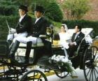 Gli sposi lasciando la cerimonia in una carrozza trainata da cavalli