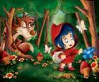 Cappuccetto rosso nel bosco con il lupo nascosto tra gli alberi