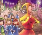 Il pifferaio di Hamelin misteriosamente con tutti i bambini della città dietro il suono del flauto