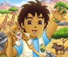 Diego e Baby Giaguaro che aiutn gli animali in pericolo nella serie Vai Diego