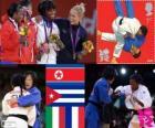 Podio Judo femminile - 52 kg, Kum Ae un (Corea del Nord), Yanet Bermoy Acosta (Cuba), Rosalba Forciniti (Italia) e Priscilla Gneto (Francia)