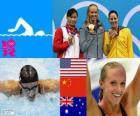 Podio nuoto 100 metri farfalla femminili, Dana Vollmer (Stati Uniti), Lu Ying (Cina) e Alicia Coutts (Australia) - Londra 2012-