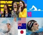 Podio nuoto 100 metri dorso femminili, Missy Franklin (Stati Uniti), Emily Seebohm (Australia) e Aya Terakawa (Giappone) - Londra 2012-