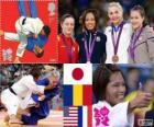 Judo femmina podio - 57kg, Kaori Matsumoto (Giappone), Corina Căprioriu (Romania) e Marti Malloy (Stati Uniti), Automne Pavia (Francia) - Londra 2012-