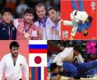 Uomini di Judo di podio - 73 kg, Mansur Isayev (Russia), Riki Nakaya (Giappone) e Nyam-Ochir siciliano (Mongolia), Legrand Ugo (Francia) - Londra 2012 -