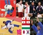 Podio Judo uomini - 66 kg, Lasha Shavdatuasvili (Georgia), Miklos Ungvari (Ungheria) e Masashi Ebinuma (Giappone), Cho Jun-Ho (Corea del sud) - Londra 2012-