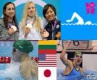Podio nuoto 100 m Rana femminili, Rūta Meilutytė (Lituania), Rebecca Soni (Stati Uniti) e Satomi Suzuki (Giappone) - Londra 2012-