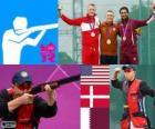Podio tiro Skeet maschile shooting, Vincent Hancock (Stati Uniti), Anders Golding (Danimarca) e Nasser Al - Attiyah (Qatar) - Londra 2012-