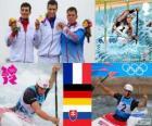 Podio C1 slalom maschile canoa, Tony Estanguet (Francia), Sideris Tasiadis (Germania) e Michal Martikán (Slovacchia) - Londra 2012-