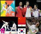 Podio scherma fioretto individuale maschile, Lei Sheng (Cina), Abuelkasem Alaaeldi (Egitto) e Choi Byung-Chul (Corea del sud) - Londra 2012-
