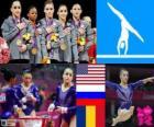 Podio ginnastica artistica concorso a squadre femminile, Stati Uniti, Russia e Romania - Londra 2012-