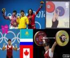 Podio sollevamento pesi 63 kg donne, Giorgio Maneza (Kazakistan), Svetlana Tsarukayeva (Russia) e Christine Girard (Canada) - Londra 2012-