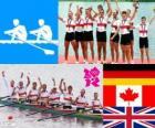 Podio canottaggio otto maschile, Germania, Canada e Regno Unito - Londra 2012-