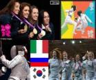 Podio scherma fioretto a squadre femminile, Italia, Russia e Corea del Sud - Londra 2012-