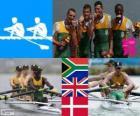Podio Canottaggio 4 senza pesi leggeri, Sud Africa, Regno Unito e Danimarca - Londra 2012-