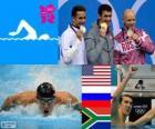Podio nuoto 100 m stile farfalla 100 m uomo, Michael Phelps (Stati Uniti), Evgenij Korotyškin (Russia), Chad le Clos (Sud Africa) - Londra 2012-