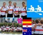 Podio Canottaggio 4 di coppia maschile, Germania, Croazia e Australia - Londra 2012 -