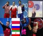 Podio pesi 85 kg uomini, Adrian Frantsevič (Polonia), fitness Aujadov (Russia) e (Iran) - Londra 2012 - Giorgio Rostami