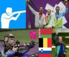 Podio tiro Carabina 50 metri a terra maschile, Sergei Martynov (Bielorussia), Lionel Cox (Belgio) e Rajmond Debevec (Slovenia) - Londra 2012-