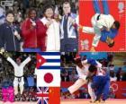 Podio Judo femmina oltre 78 kg, Idalys Ortiz (Cuba), Mika Sugimoto (Giappone), Karina Bryant (Regno Unito) e Wen Tong (Cina) - Londra 2012-