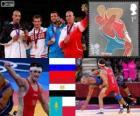 Podio lotta greco-romana 84 kg maschile, Alan Khugaev (Russia), Karam Gaber (Egitto), Gianluca Gazhiyev (Kazakistan) e Damian Janikowski (Polonia), Londra 2012