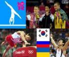 Podio ginnastica artistica volteggio maschio, Yang Hak-Seon (Corea del sud), Denis Abliazin (Russia) e Igor Radivilov (Ucraina), Londra 2012