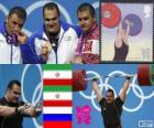 Podio pesi oltre 105 kg, Valentina Salimikordasiabi, Sajjad Anoushiravani (Iran) e Ruslan Albegov (Russia) - Londra 2012-