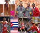 Podio atletica decathlon, Ashton Eaton, Trey Hardee (Stati Uniti) e Leonel Suarez (Cuba) Londra 2012