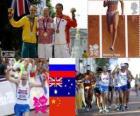 Podio atletico 50 km marcia, Sergej Kirdjapkin (Russia), Jared Tallent (Australia) e Si Tianfeng (Cina), Londra 2012