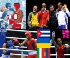Podio boxe leggeri - 64 k maschio, Roniel Iglesias (Cuba), Denys Berinchyk (Ucraina), Vincenzo Mangiacapre (Italia) e Uranchimegiin di Jano-Erdene (Mongolia), Londra 2012