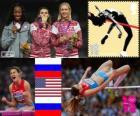 Podio atletica salto in alto femminile, Anna Chicherova (Russia), Brigetta Barrett (Stati Uniti) e Svetlana Shkolina (Russia), Londra 2012