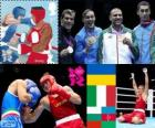 Podio boxe massimi - 91 kg maschio, Oleksandr Usyk (Ucraina), Clemente Russo (Italia), Tervel Pulev (Bulgaria) e Teymur Mammadov (Azerbaigian), Londra 2012