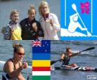 Podio canoa in acque libere K1 200 m donne, Lisa Carrington (Nuova Zelanda), Inna Osypenko (Ucraina) e Natasa Janics (Ungheria), Londra 2012