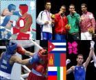 Podio boxe pesi mosca uomini, Robeisy Ramírez (Cuba), Nyambayaryn Tögstsogt (Mongolia), Misha Aloyan (Russia) e Michael Conlan (Irlanda), Londra 2012