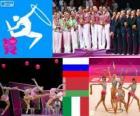 Podio ginnastica ritmica concorso a squadre, Russia, Bielorussia e Italia, Londra 2012