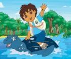Diego in mare sul carapace di una tartaruga marina