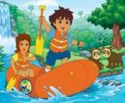 Diego e sua madre in un gommone