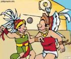 Il gioco della palla era un rito Maya, i giocatori lottano per passare la palla attraverso l'anello di pietra
