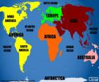Mappa continenti e degli oceani
