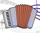 Disegno di una fisarmonica con le note musicali