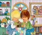 Pregando ragazzo e una ragazza. Precious Moments