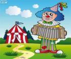 Clown che suona la fisarmonica