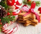 Bastoncino di zucchero e biscotti per Natale