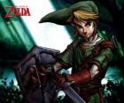 Link con la spada e scudo nelle avventure di The Legend of Zelda videogioco
