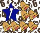 Numero 7 all'interno di una stella con sette campane