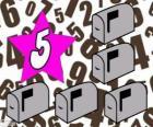 Numero 5 in una stella con cinque caselle postale
