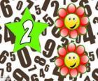 Numero 2 in una stella con due fiori