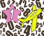 Numero 1 in una stella con un aeroplano
